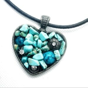 Brighton Jewelry - Brighton Turquoise Mosaic Heart Necklace